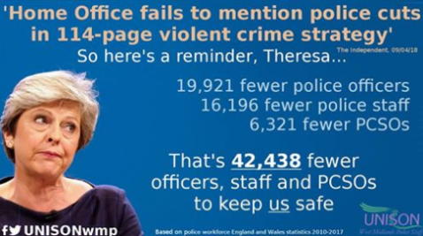 Too Many UK Police Cuts By The Conservative Party